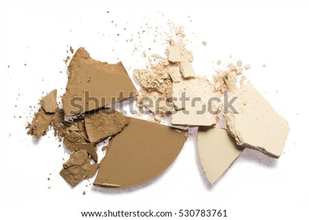 Face make up powder cracked on background