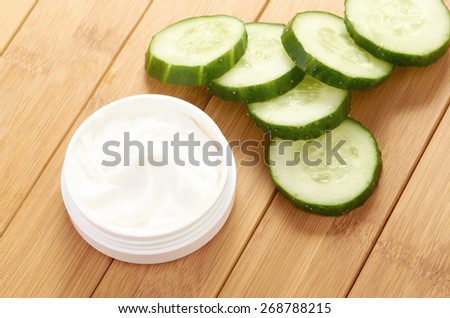 face mask with cucumber slices