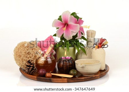 Face mask with Shoe Flower,Shoe Flower or hibiscus flowers, honey and eggs, spa skin from natural raw materials.  - stock photo