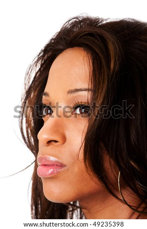 Face of a beautiful African American fashion business woman with natural makeup and long hair, isolated. - stock photo