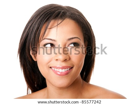Face of a beautiful attractive happy young woman with short hair looking to the side, skincare concept,  isolated. - stock photo