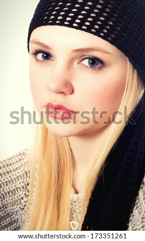 face of a beautiful blonde girl