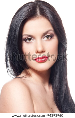 Face of a beautiful brunette woman - stock photo