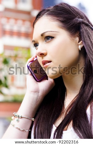 Face Of A Beautiful Business Woman On A Smart Mobile Teleconference Phone Call To An Executive Client When Standing Outdoor In A Communication Concept - stock photo