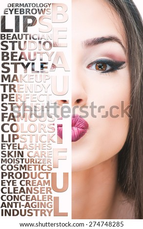 Face of a beautiful girl with make-up words on a half image - stock photo