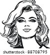 face of a beautiful woman - stock vector