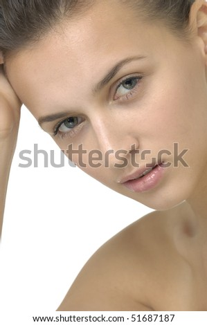 Face of a beautiful woman - stock photo