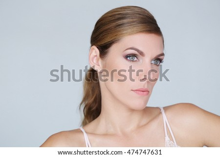 Face of a beautiful woman in close-up