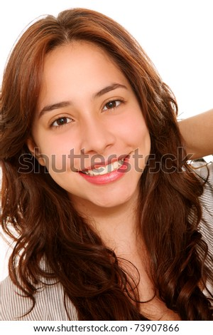 Face of a beautiful woman looking at the camera - stock photo