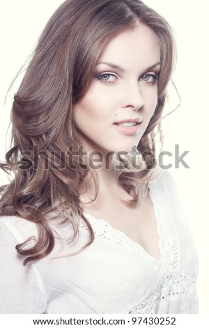 Face of a beautiful young woman - stock photo