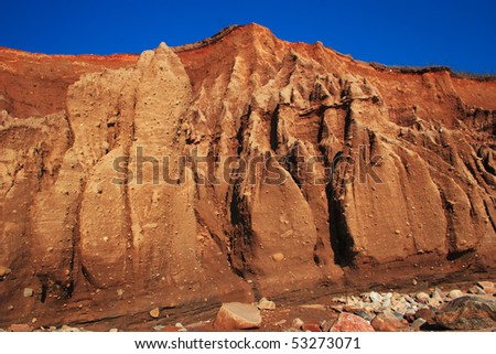 Face of a cliff located at Montauk Point Long Island. - stock photo
