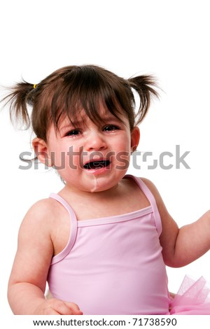 Face of a cute adorable baby infant toddler with cranky sad crying expression, isolated. - stock photo