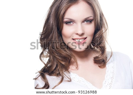 Face of a lovely smiling girl - stock photo