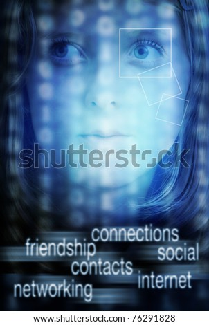 face of a teenager girl with technology background and internet social networking text - stock photo