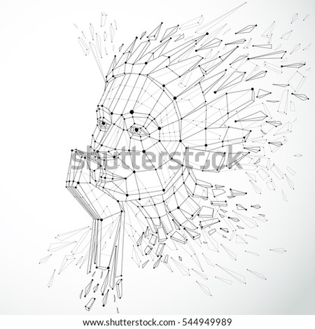 Face of a thinking woman created in low poly style and with connected lines, 3d black and white wireframe human head, brain exploding which symbolizes intelligence and imagination.