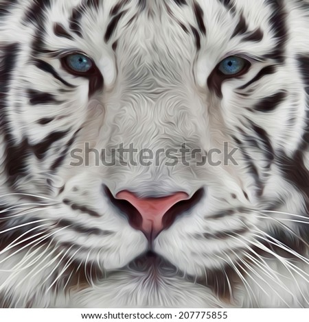 Face of a white bengal tiger. Mask of the biggest cat of world. Wild beauty of the most dangerous and mighty beast. Amazing illustration in oil painting style. Great for user pic, icon, label, tattoo. - stock photo