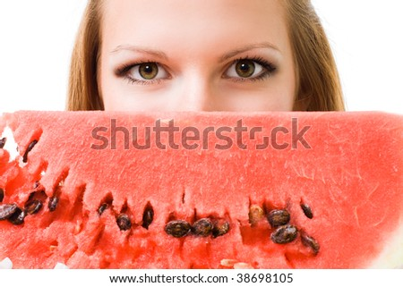 Face of a woman with watermelon, isolated on white - stock photo