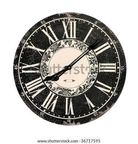 face of an antique clock isolated on white - stock photo