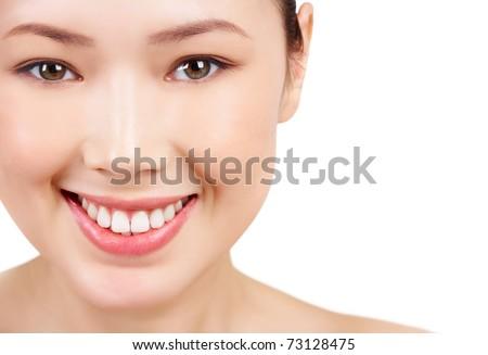 Face of Asian female smiling on white background - stock photo