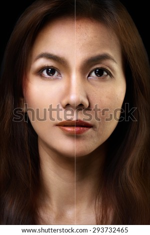 Face of beautiful asian woman before and after retouch - stock photo
