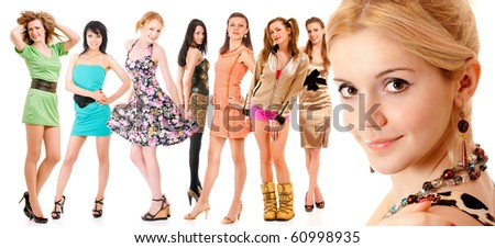 Face of  beautiful girl and seven girls on background, it is isolated on white. - stock photo