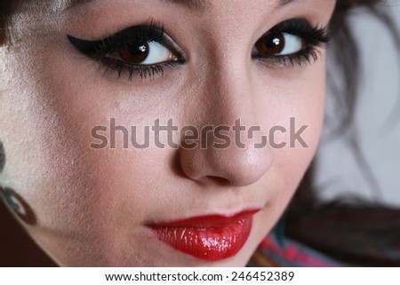 face of beautiful girl with makeup