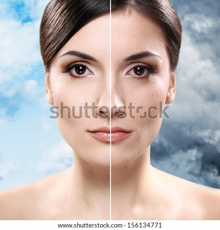 Face of beautiful woman before and after retouch - stock photo