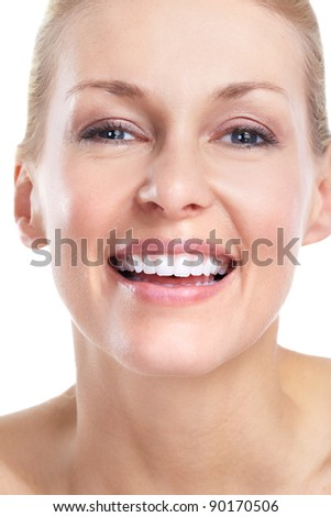 Face of beautiful woman. Smile and teeth. Isolated over white background. - stock photo