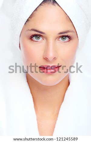 Face of beautiful woman. Spa massage concept background. - stock photo