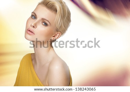 Face of beautiful woman with clean skin - stock photo