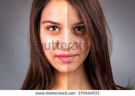 Face of beautiful young woman before and after retouch isolated over gray background - stock photo