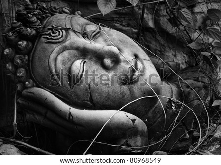 Face of budda statue, Black and white - stock photo