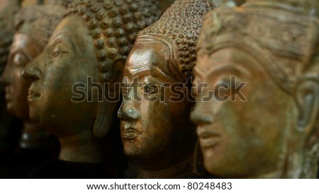 face of buddha - stock photo