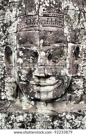 Face of Buddha at Bayon temple, Angkor, Cambodia - stock photo