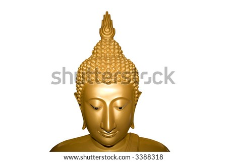 Face of Buddha isolated. Clipping path - stock photo