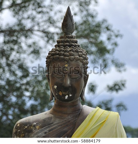 face of buddha statue in thailand
