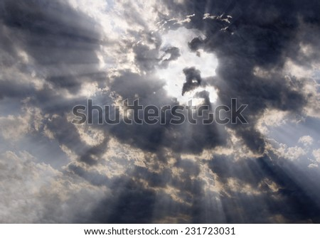 Face of Christ in the sky - stock photo