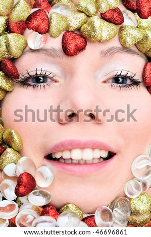 face of girl in border from hearts - stock photo