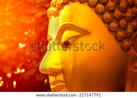 Face of gold Buddha. - stock photo