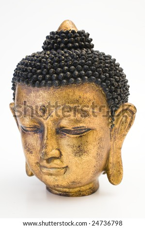 Face of gold Buddha isolated on wight - stock photo