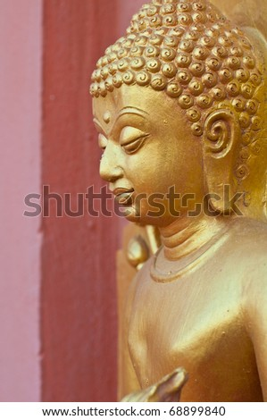 Face of golden buddha, Thailand. - stock photo