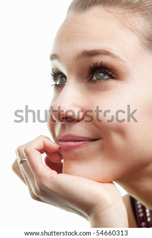 Face of happy beautiful woman isolated on white background - stock photo