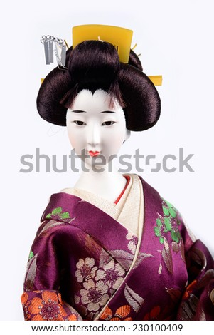 face of Japanese Doll white isolated - stock photo
