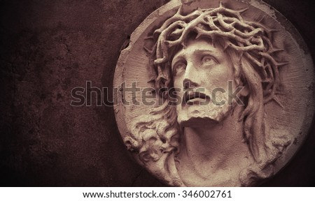 Face of Jesus Christ crown of thorns (statue) - stock photo