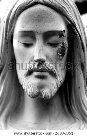 Face of Jesus in Black and White - stock photo