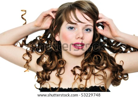 face of laying girl  with long curly hair - stock photo