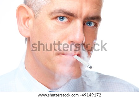 Face of mature man smoking cigarette exhaling smoke through nose, isolated over white background