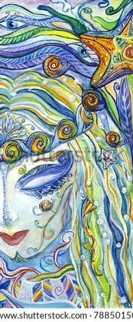 Face of mermaid - stock photo