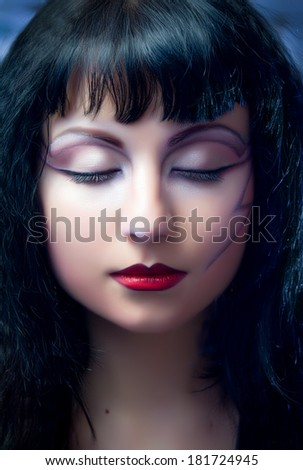 Face of model with halloween creative makeup