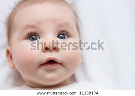 face of newborn - stock photo